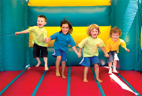 The four youngsters failed to realize the jumping at once would fail to launch them free of the von trapp bouncy castle.